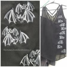 Chiffon tank with embroidered bats