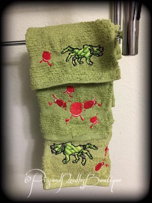 Embroidery on hand towels
