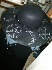 Embroidery and embellishment on wool hat
