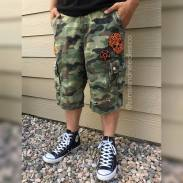 Embroidered patches on mens shorts